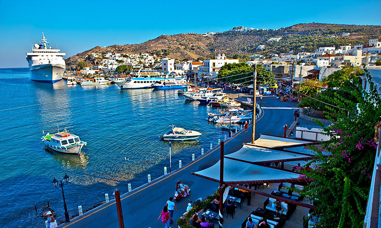 the harbor of Skala in Patmos Greece